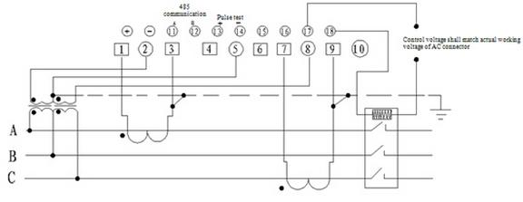delixi instruments \u0026 meter co ,ltd□wiring diagram of external power cut off device of dssy606(3×100v) three phase three wire prepaid electronic energy meter v connected via secondary